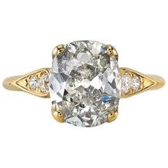 3.03 Carat Cushion Cut Diamond Set in a Handcrafted 18 Karat Yellow Gold Ring