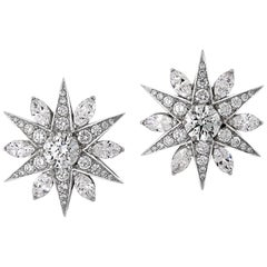 3.03 Carat Diamond Star Cluster Earrings