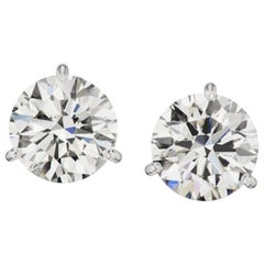 3.03 Carat Diamond Stud Earrings Excellent Cut