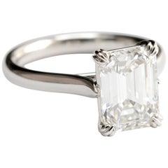 3.03 Carat Emerald Cut Diamond Solitaire Engagement Ring in Platinum