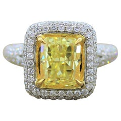 3.03 Carat Fancy Intense Yellow Diamond Gold Ring, EGL Certified