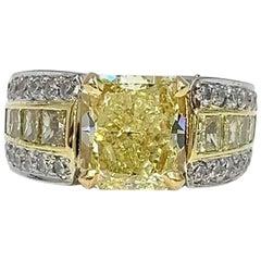 3.03 Carat Fancy Yellow Radiant Diamond JB Star Platinum and 18 Karat Gold Ring