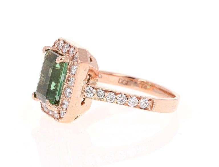 Modern 3.03 Carat Green Tourmaline Diamond 14 Karat Rose Gold Engagement Ring For Sale