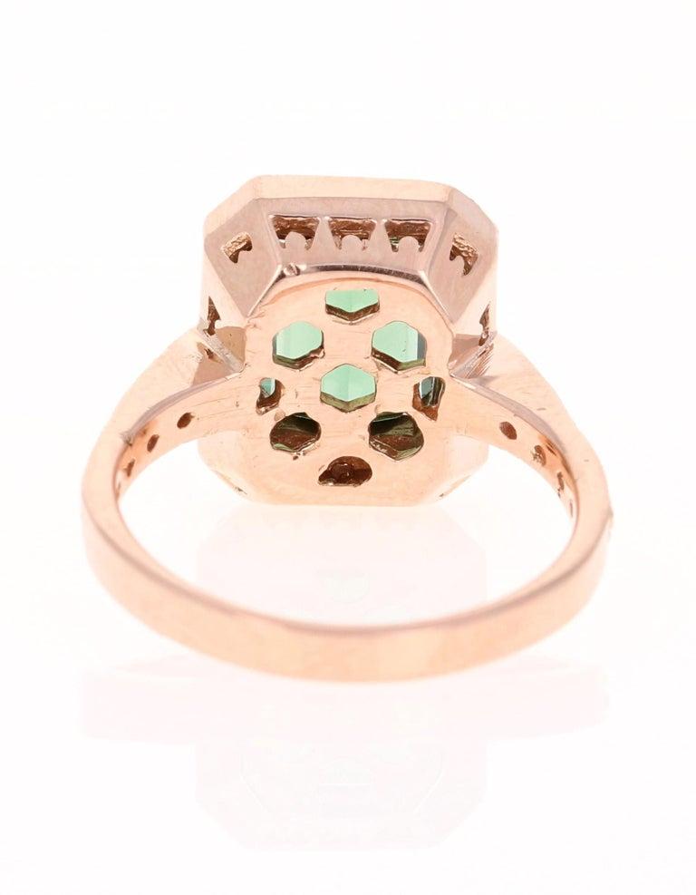 Emerald Cut 3.03 Carat Green Tourmaline Diamond 14 Karat Rose Gold Engagement Ring For Sale