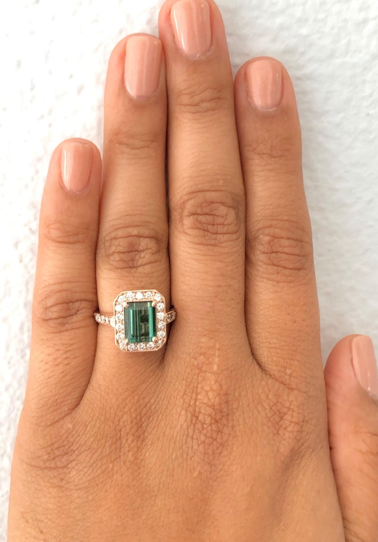 3.03 Carat Green Tourmaline Diamond 14 Karat Rose Gold Engagement Ring In New Condition For Sale In Los Angeles, CA