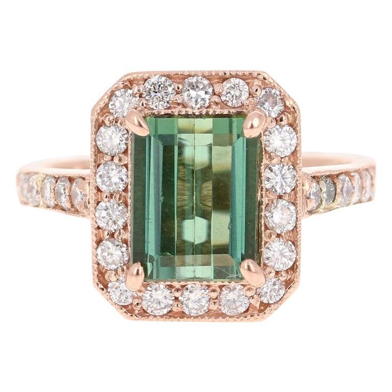 3.03 Carat Green Tourmaline Diamond 14 Karat Rose Gold Engagement Ring For Sale