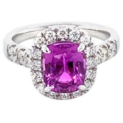 3.03 Carat GRS Certified No Heat Pink Sapphire and Diamond Ring