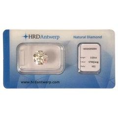 3.03 Carat HRD Certificate White Round Cut Diamond