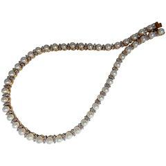 3.03 Carat Natural Akoya Pearls and Diamonds Riviera Necklace 14 Karat Gold