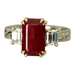 3.03 Carat Natural Vivid Red Burma Ruby and Diamond Ring GIA Certified