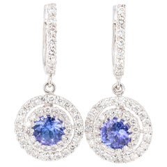 3.03 Carat Tanzanite Diamond 14 Karat White Gold Dangle Earrings