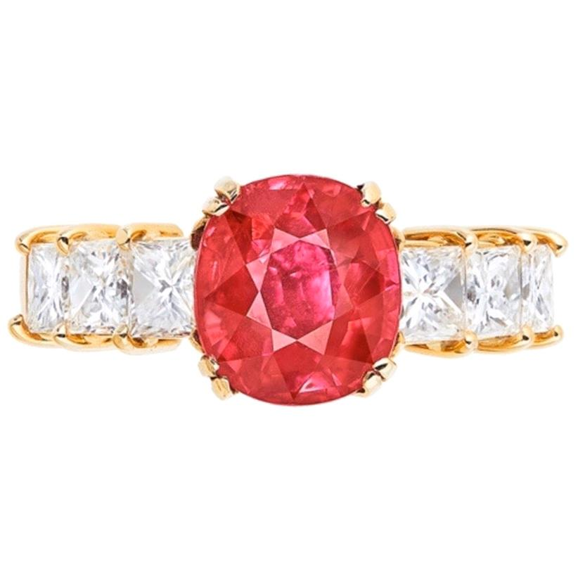 Emilio Jewelry Certified 3.00 Carat Pigeon Blood Ruby Ring