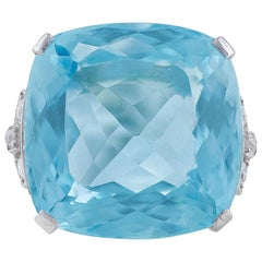 30.31 Carat Aquamarine Diamond Ring GIA Certified
