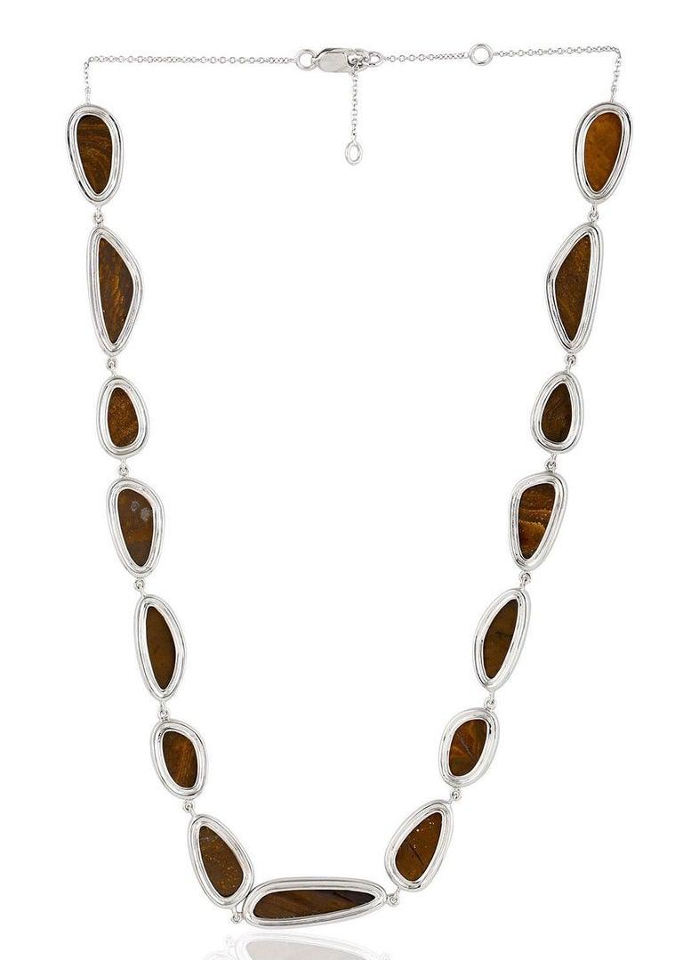 Modern 30.32 Carat Opal Diamond 18 Karat White Gold Necklace One of a Kind For Sale