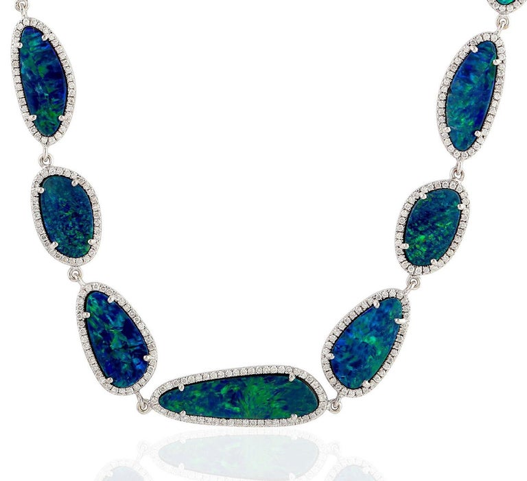 Oval Cut 30.32 Carat Opal Diamond 18 Karat White Gold Necklace One of a Kind For Sale