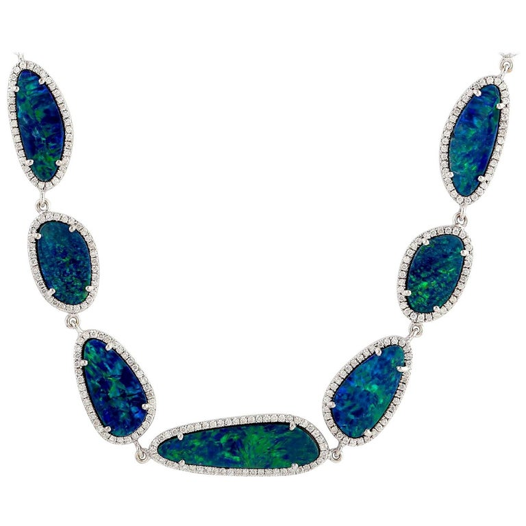 30.32 Carat Opal Diamond 18 Karat White Gold Necklace One of a Kind For Sale