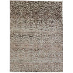 New Transitional Ikat Area Rug with Modern Style, Wool and Silk Ikat Rug