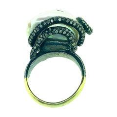 30.36 Carat Baroque Pearl 1.79 Carat Diamond Silver 14 Karat Ring
