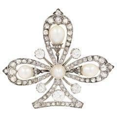 3.03ctw European Cut Diamond & Pearl Edwardian Clover Brooch 18k Gold & Platinum