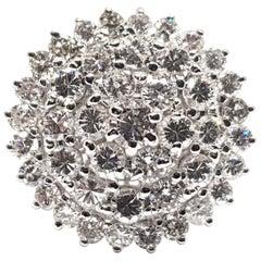 3.04 Carat 18 Karat White Gold Vintage Diamond Ring