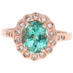 3.04 Carat Apatite Diamond 14 Karat Rose Gold Ring