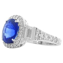 3.04 Karat Ceylon blauer Saphir und Diamanten Cocktailring in 14 Karat Gold