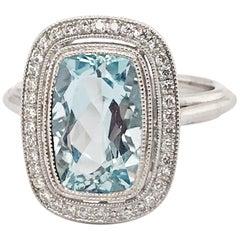 3.04 Carat Cushion Cut Aquamarine and Diamond Ring in 14 Karat White Gold