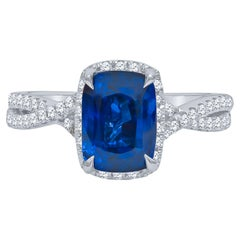 3.04 Carat Cushion Cut Natural Blue Sapphire Sri Lanka 'GIA' and Diamond Ring
