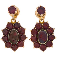 3.04 Carat Garnet Yellow Gold Dangle Cluster Earrings