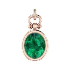 3.04 Carat Oval Cut Emerald Pendant Necklace in 18k