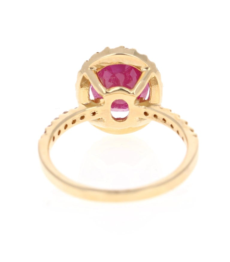 3.04 Carat Oval Cut Ruby Diamond 14 Karat Yellow Gold Engagement Ring In New Condition For Sale In Los Angeles, CA