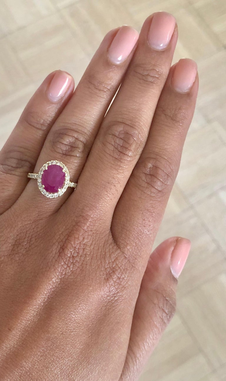 3.04 Carat Oval Cut Ruby Diamond 14 Karat Yellow Gold Engagement Ring For Sale 1