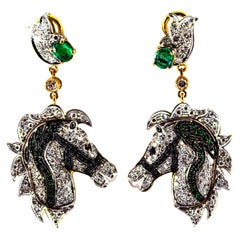 3.04 Carat White Black Diamond Ruby Emerald Yellow Gold Horses Clip-On Earrings