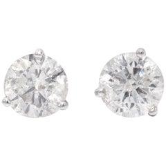 3.04 Carat White Diamond Stud Earrings in 14 Karat White Gold