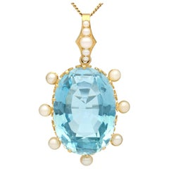 30.41 Carat Aquamarine and Pearl Yellow Gold Pendant, Antique, circa 1910