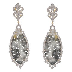 30.47 Carat Black Jade Diamond 18 Karat Yellow Gold Earring