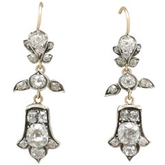 1880s Antique 3.04Ct Diamond & Yellow Gold Silver Set Drop Earrings