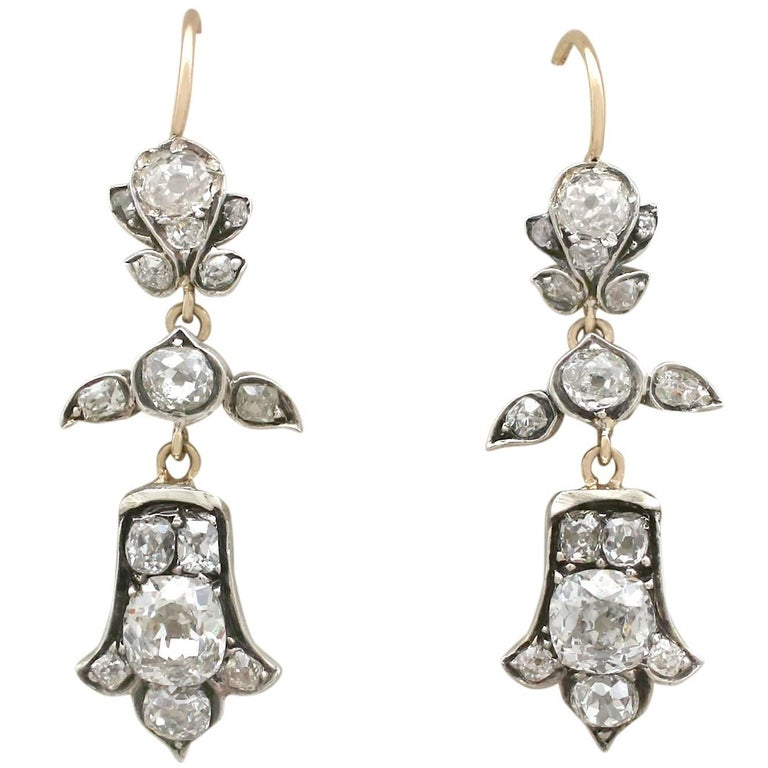 1880s Antique 3.04Ct Diamond & Yellow Gold Silver Set Drop Earrings