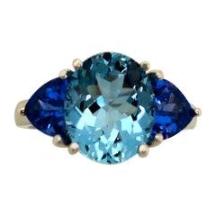 3.05 Carat Aquamarine and Tanzanite 3-Stone Ring, 18 Karat White Gold