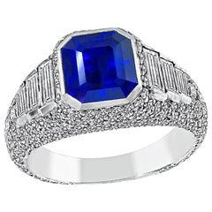 3.05 Carat Ceylon Sapphire 1.20 Carat Diamond Engagement Ring