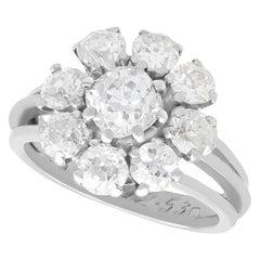 3.05 Carat Diamond and Palladium Cluster Ring