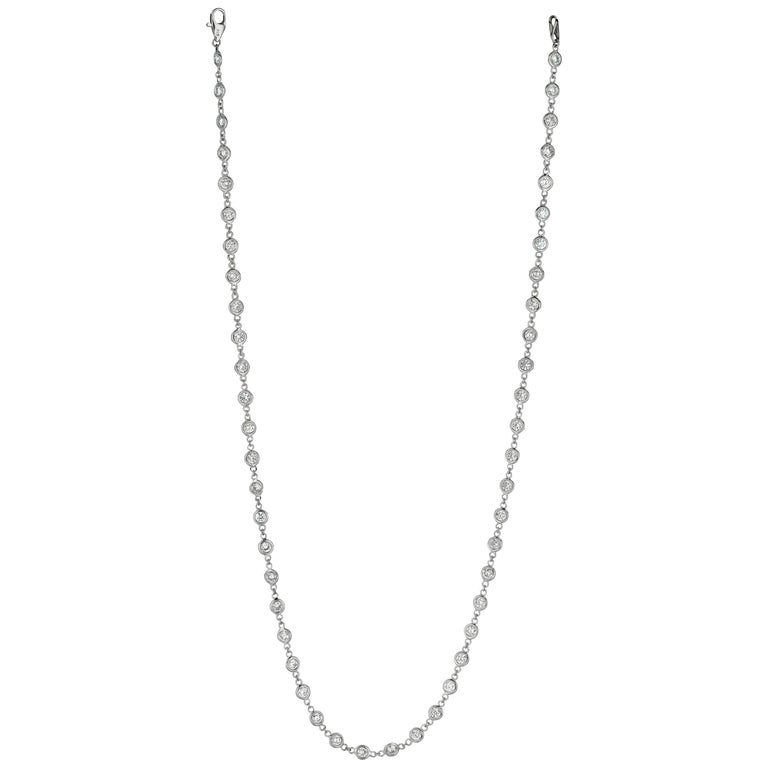 3.05 Carat Diamond by the Yard Necklace G SI 14 Karat White Gold 5 Pointers For Sale
