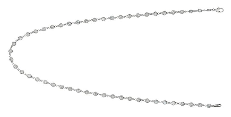 Contemporary 3.05 Carat Diamond by the Yard Necklace G SI 14 Karat White Gold 5 Pointers For Sale