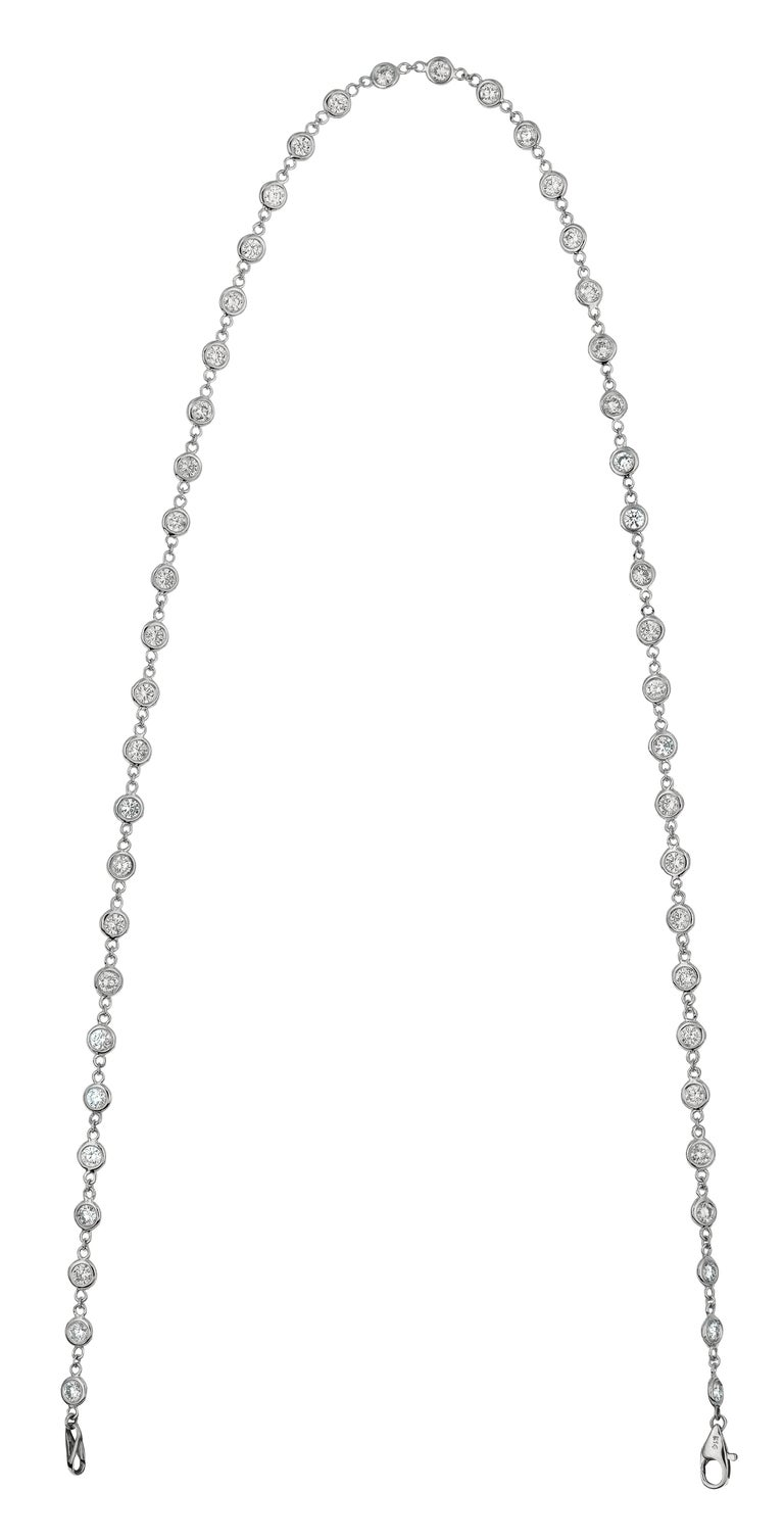 Round Cut 3.05 Carat Diamond by the Yard Necklace G SI 14 Karat White Gold 5 Pointers For Sale