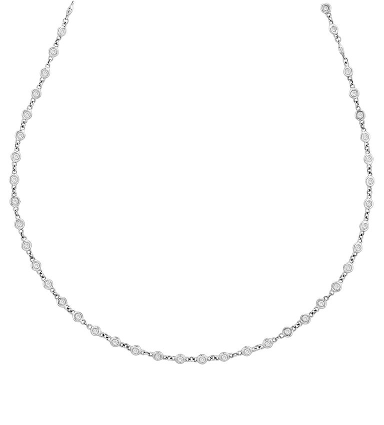 3.05 Carat Diamond by the Yard Necklace G SI 14 Karat White Gold 5 Pointers In New Condition For Sale In New York, NY