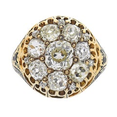 EGL 3.05 Carat Diamond Victorian Enamel Yellow Gold Cocktail Cluster Ring