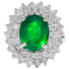 3.05 Carat Emerald and Diamond Cocktail Ring