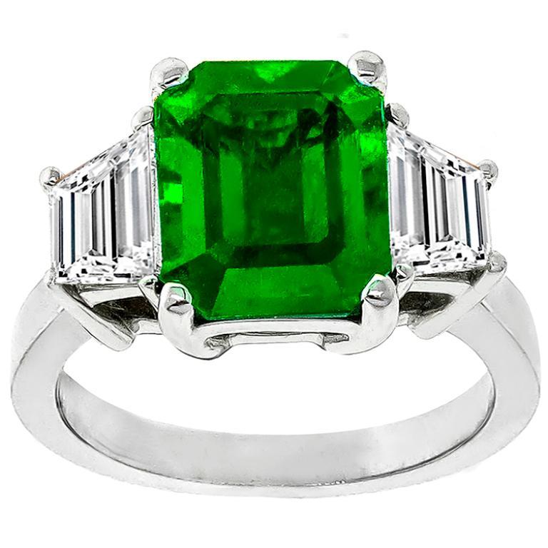 Emerald Cut 3.05 Carat Emerald Diamond Gold Engagement Ring For Sale