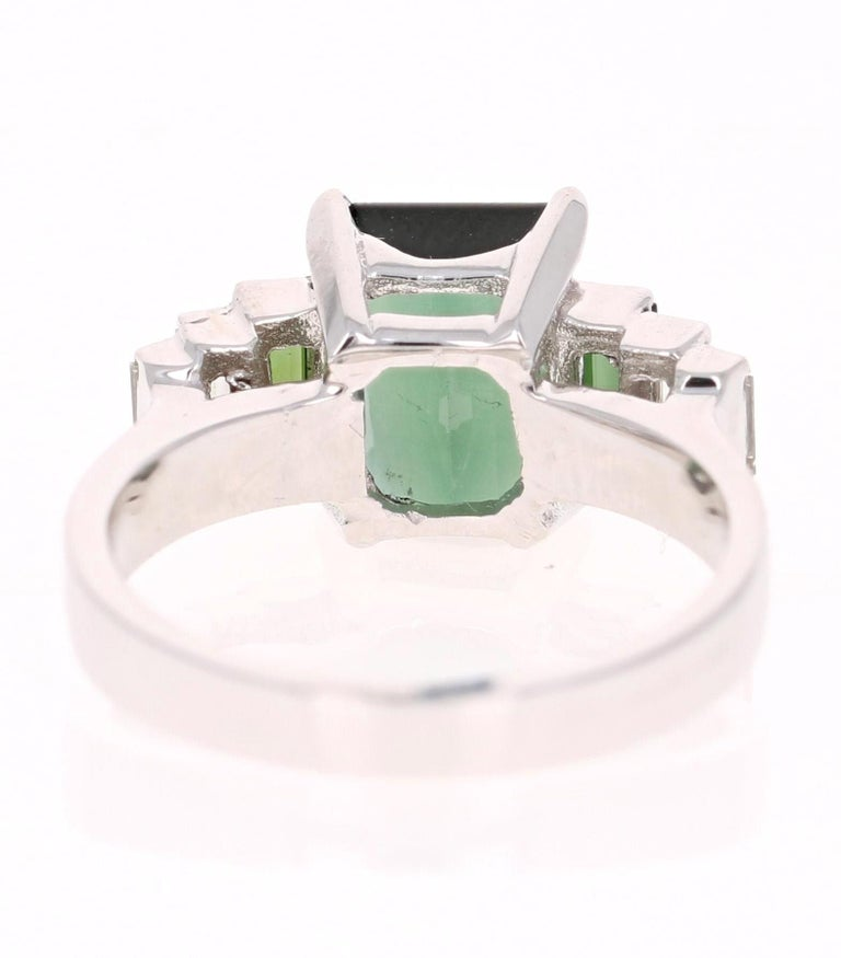 Emerald Cut 3.05 Carat Green Tourmaline Diamond 18 Karat White Gold Ring For Sale