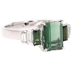3.05 Karat Grüner Turmalin Diamant 18 Karat Weißgold Ring